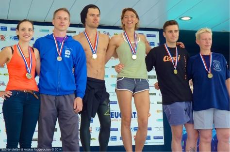 Tous ensemble sur le podium combiné : Lydia Horel, Olivier Elu, Alexis Duvivier, Sandrine Murbach, Guillaume Bussière, Carole Barthélemy.