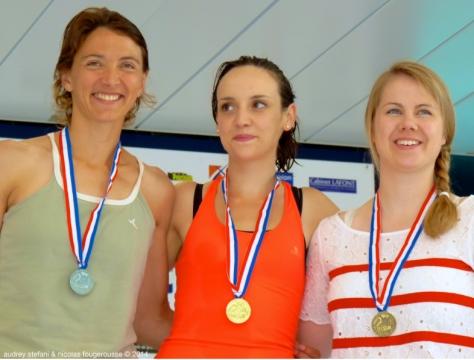 Sandrine Murbach, Lydia Horel, Celine-Hubert, podium du DNF.